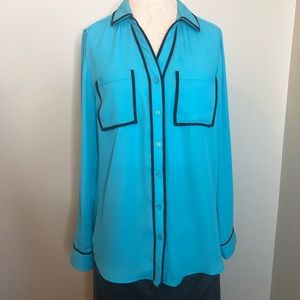 Relativity Turquoise Blouse with Black Trim NWT
